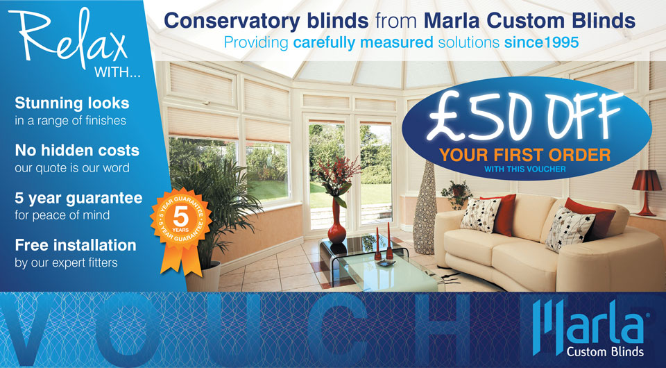 Marla conservatory blinds introductory offer voucher