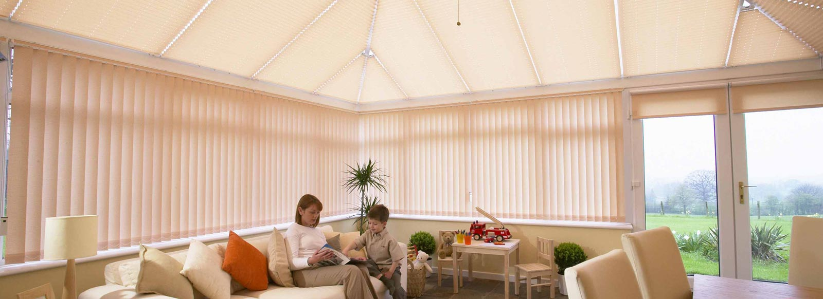 marla conservatory roof pleated blinds